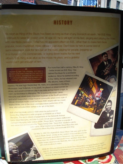B.B. King's Blues Club Menu