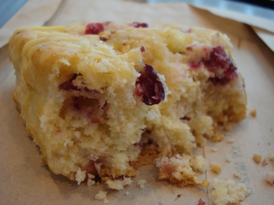 Iced cranberry orange scone