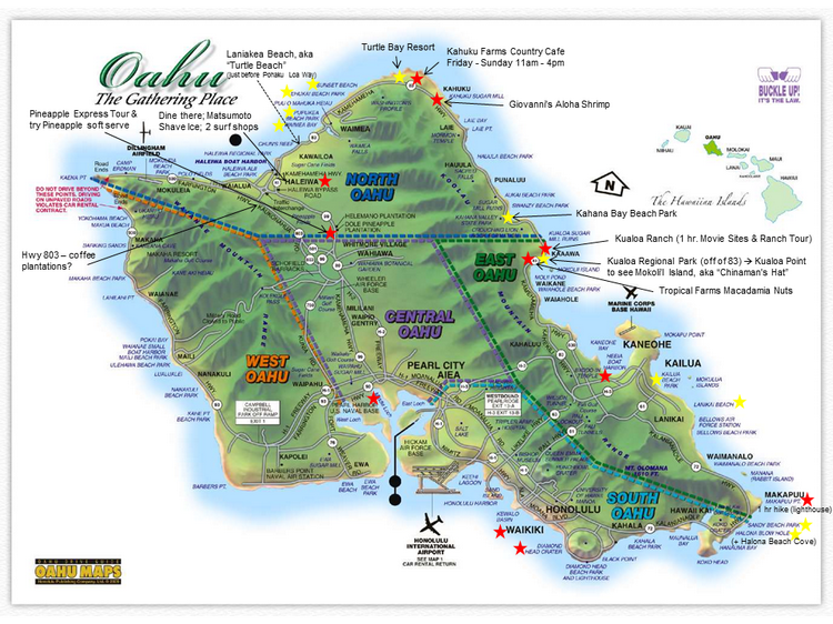 Yummies 4 Tummies – Oahu Tourist Attractions Map